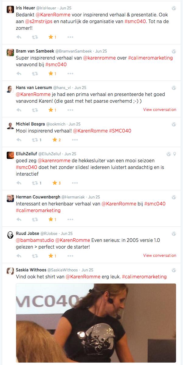 Reacties op Twitter presentatie Calimeromarketing 3.0 bij SMC040