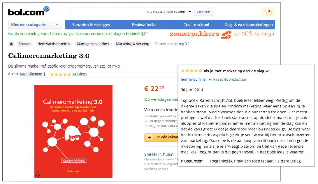 Beoordelingen op Bol.com van Calimeromarketing 3.0