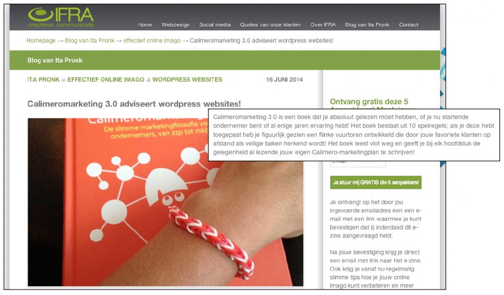 Blogartikel over Calimeromarketing 3.0 door Ita Pronk van Ifra