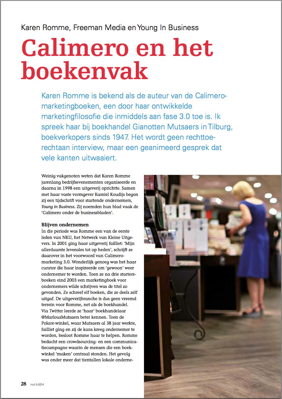 Calimero en het boekenvak in inct.magazine tekst david huijzer foto Anna Green pagina 1