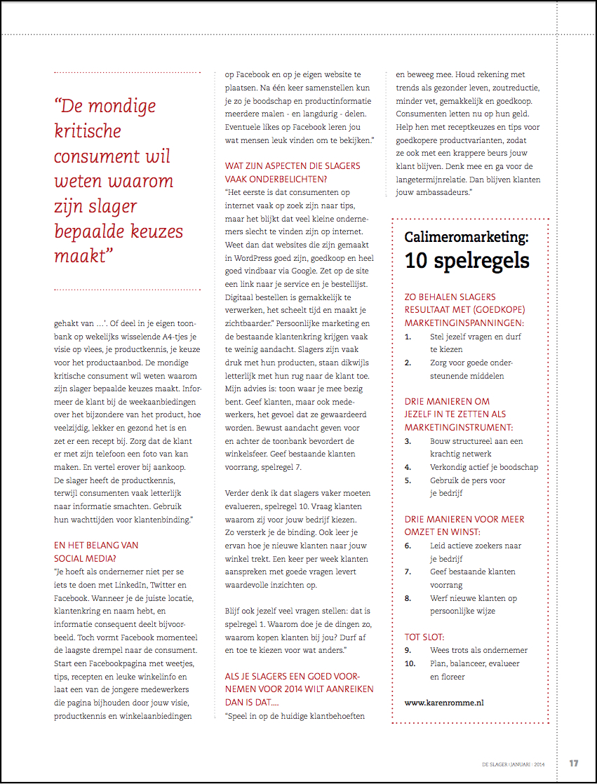 Karen Romme over Calimeromarketing voor slagers pagina 17